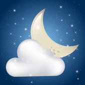 Clouded moon — Stock Vector