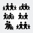 Family silhouette gray — Stock Vector