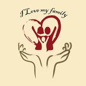 I love my family — Stock Vector