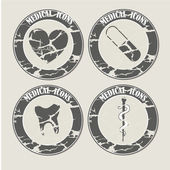 Vintage medicals icons — Stock Vector