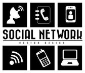 Monochrome social network — Stock Vector