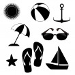 Summer icons monochrome  — Stock Vector
