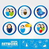 Redes sociales — Vector de stock