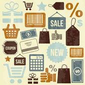 Icone dello shopping di design — Vettoriale Stock