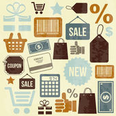 Shopping icons entwerfen — Stockvektor
