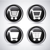 Shopping carts buttons — Stock Vector