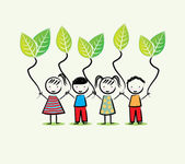 Environmentalists children — Stock Vector