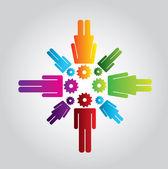 Industrial teamwork — Stock Vector