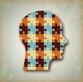 Puzzle profile — Stock Vector