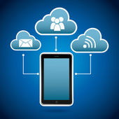 Telefone inteligente na nuvem — Vetor de Stock