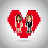Married pixel design — Stock Vector