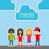 Friends pixel design — Stock Vector