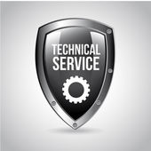 Technical service shield — Stock Vector