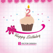 Stockvector : Happy birthday cupcake