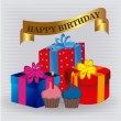 Stock Vector: Happy birthday gifts