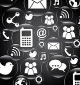 Fondo de iconos sociales — Vector de stock