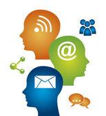Social media mind — Stock Vector