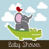 Animals baby shower — Stock Vector
