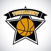 Etichetta torneo di basket — Vettoriale Stock