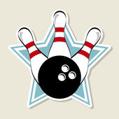 Bowling label — Stock vektor