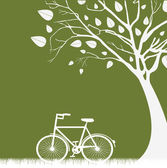 Tree and bicycle — Stock Vector