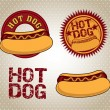 Stock Vector: Hot dog