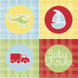 Transport baby shower — Vector de stock