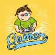 Gamer sketch — Stock Vector