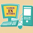 Stock Vector: Gamer in action