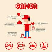 Gamer pixel — Stock Vector