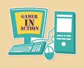 Gamer in action — Stock Vector