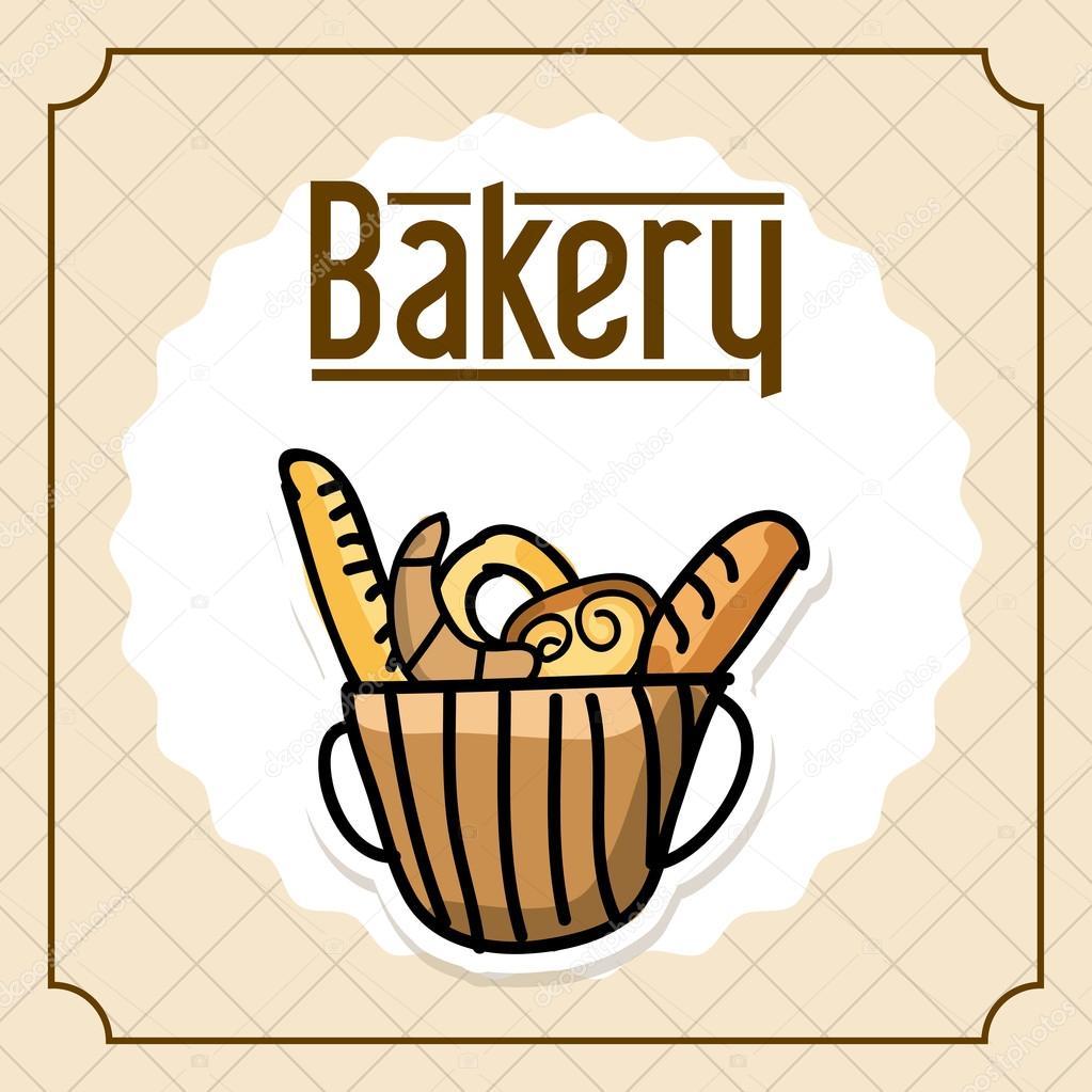 面包店设计在老式背景矢量图 — 矢量图片作者 yupiramos
