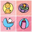 Stock Vector: Baby icons
