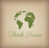 Yeşil düşünün — Stok Vektör