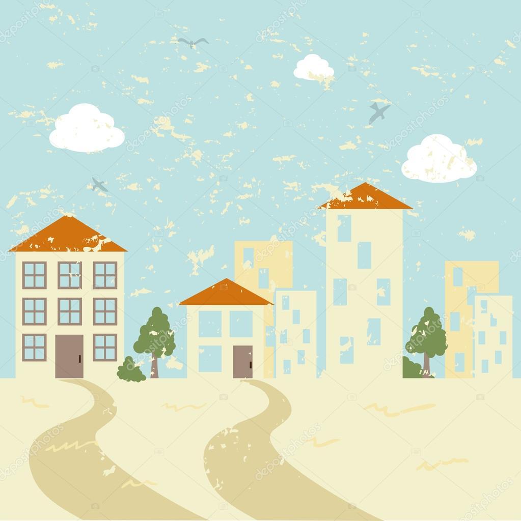 城市设计在景观背景矢量图