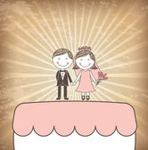 Cake just married — Stock Vector
