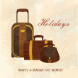 Stock Vector: Holidays suitcases