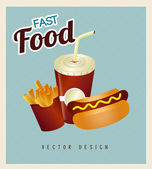 Hot dog combo with french fries and soda — Stock Vector
