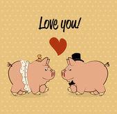 Pig love design — Stock Vector
