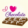 Me encanta el chocolate — Vector de stock