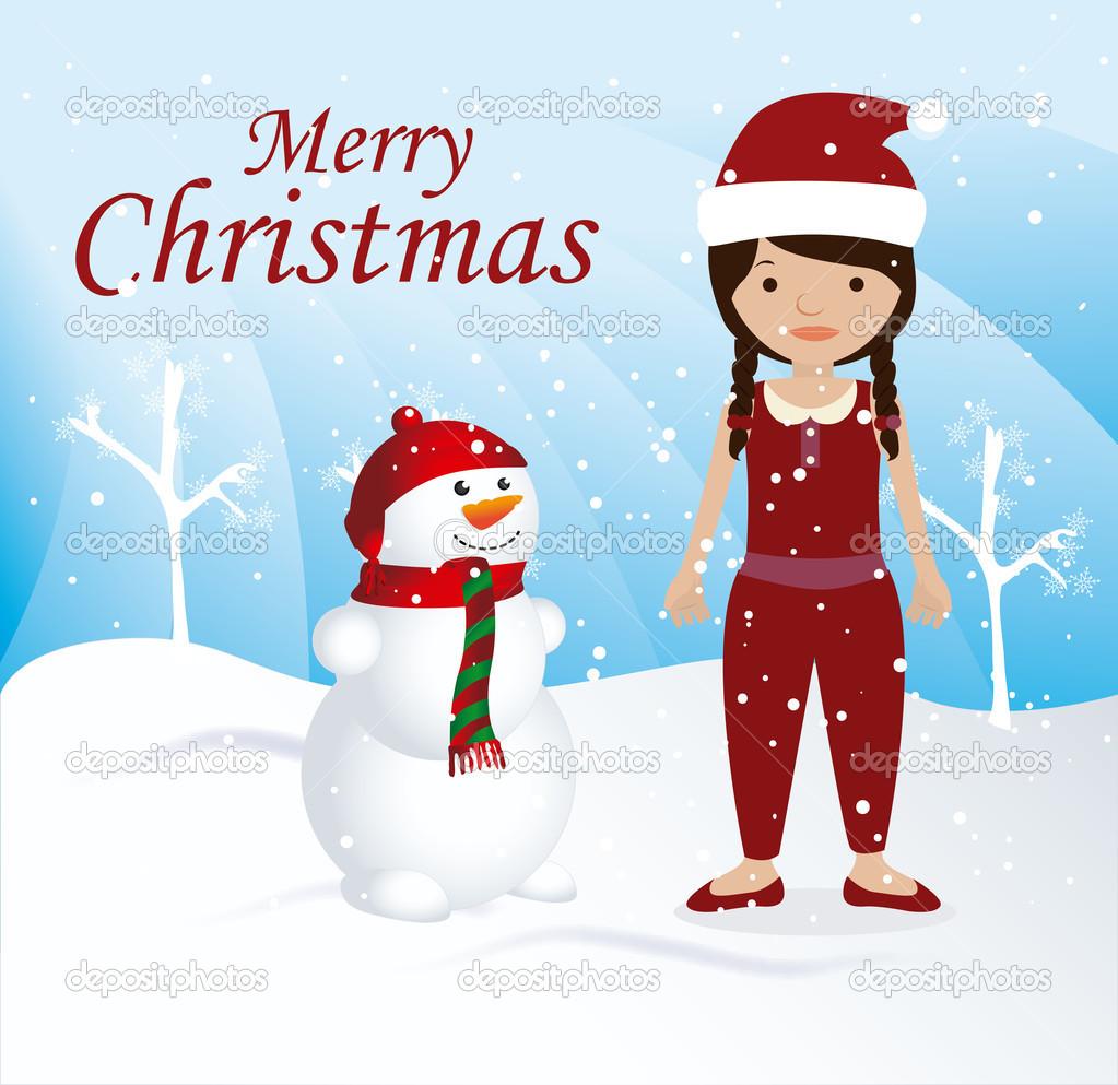 圣诞雪景背景矢量图设计