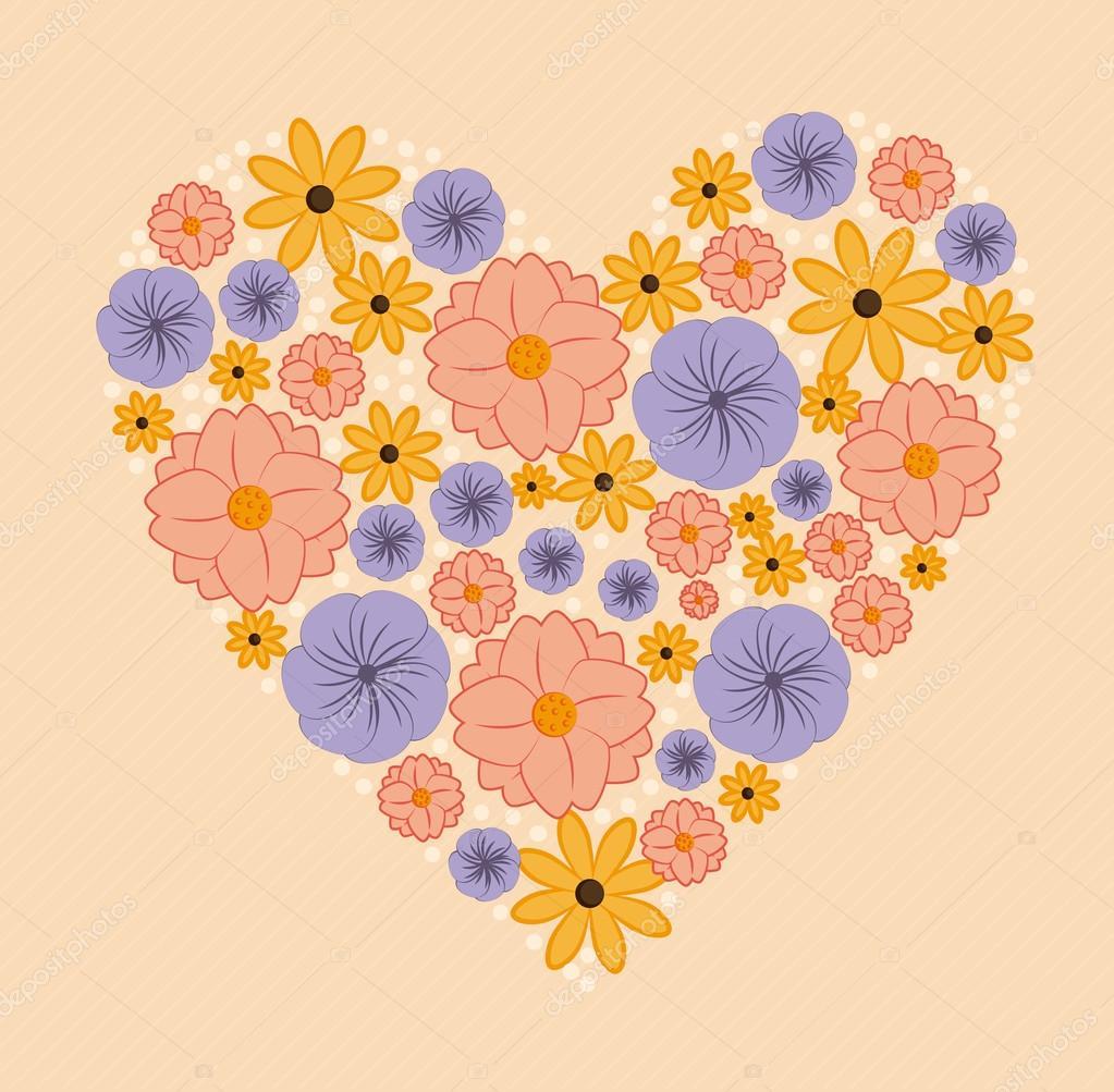 鲜花设计在粉红色的背景矢量图