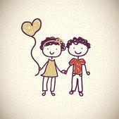 少年と少女 — ストックベクタ