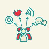 Les médias sociaux — Vecteur
