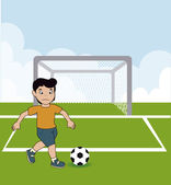 Playing soccer — Stock Vector