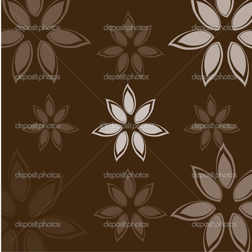 花设计在棕色背景矢量图– 图库插图