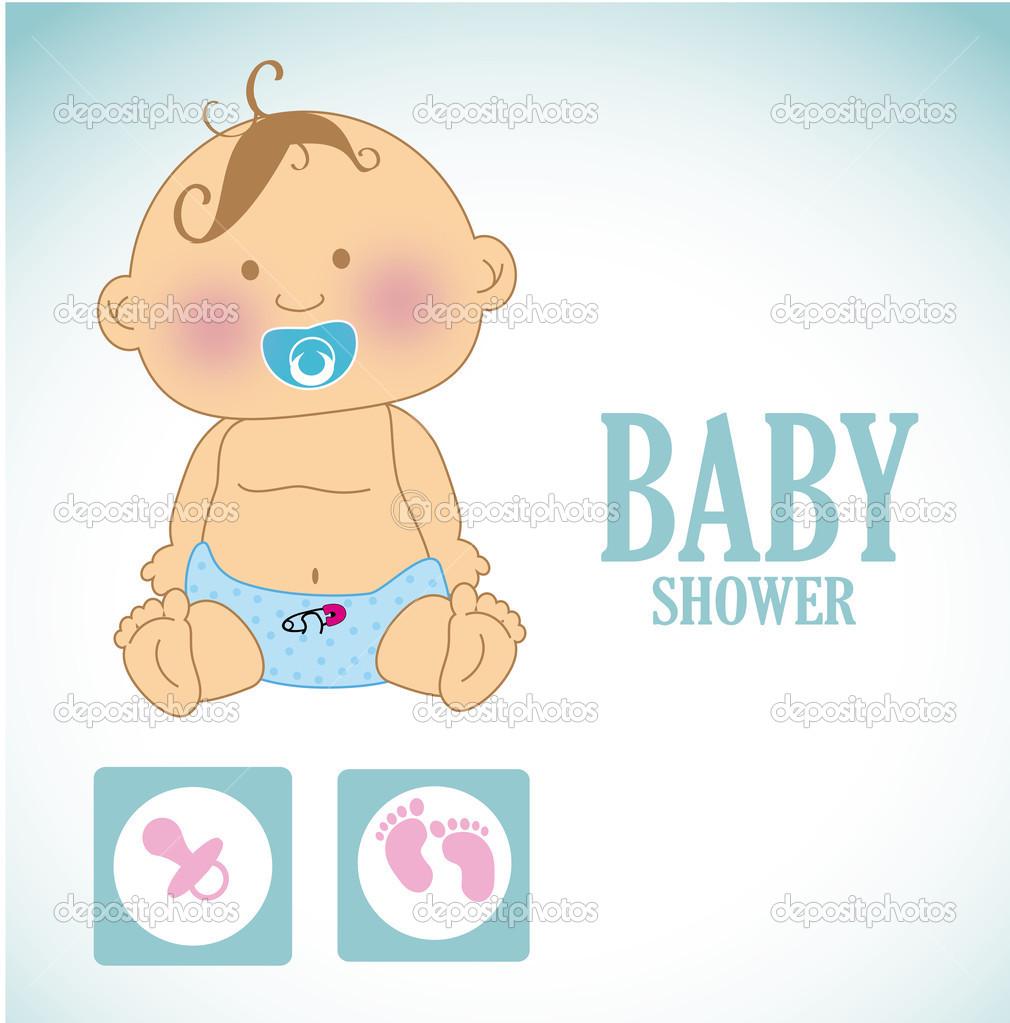 婴儿在蓝色背景矢量图的设计