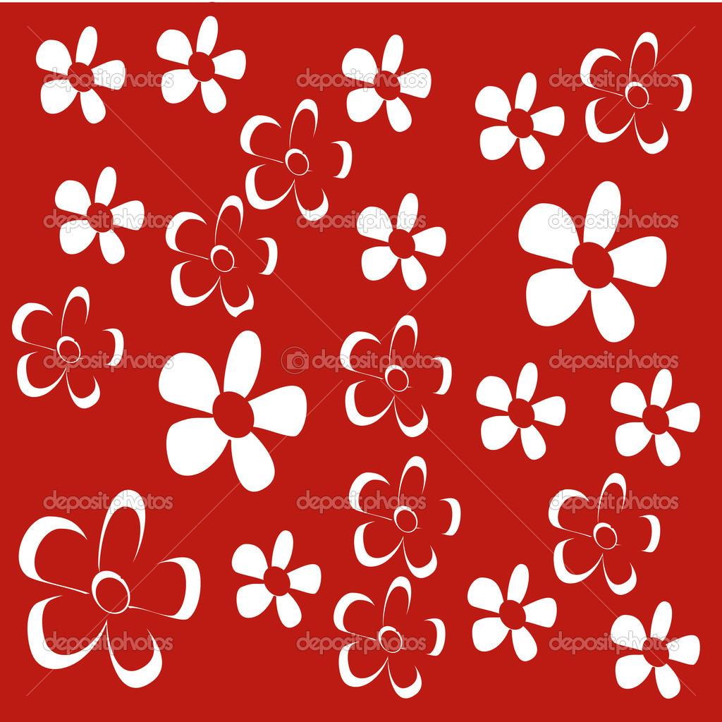 鲜花设计在红色背景矢量图