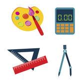 útiles escolares — Vector de stock
