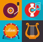 Musica design — Vettoriale Stock
